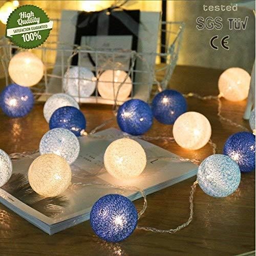 Lichtketting met katoenen bollen, 20 leds, werkt op batterijen, kleurrijk lichtsnoer, 3,3 m, verwarmen bij nachtlampje, voor bruiloft, tuin, kinderen, slaapkamer, decoratie 3.3m/20 lights Colorful Rainbow