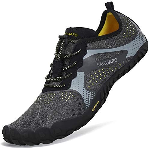 Sommer Barfußschuhe Herren Trail Laufschuhe Damen Indoor Outdoor Sport Fitnessschuhe Leicht Zehen Wander Trekking Schuhe für Frauen Männer Schwarz Gr.45