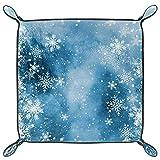 Vassoio pieghevole in pelle PU con fiocchi di neve per orologi, gioielli