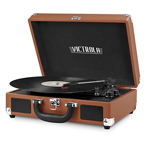 Victrola Vintage 3-Speed Bluetooth Portable Suitcase Record Player with Built-in Speakers | Upgraded Turntable Audio Sound| Includes Extra Stylus | Cognac (VSC-550BT-CG)