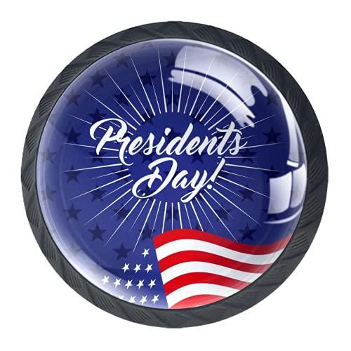 OLEEKA Tirador de manijas de cajón Perillas Decorativas del gabinete del cajón Manija del cajón del tocador 4 Piezas,día del Presidente Estadounidense