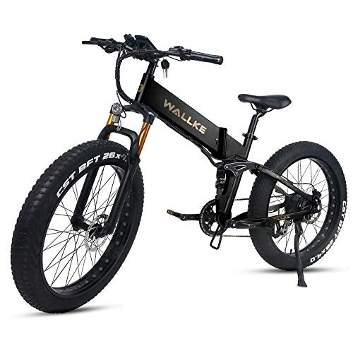 W Wallke X3 Pro Folding Electric Mountain Bike 26 Inch Fat Tire Ebike 750W Motor, 48V 14AH Samsung Removable Lithium Battery Bicycle, Seamless Welding Aluminum Alloy Frame