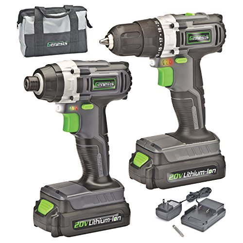 Genesis GL20DIDKA2 2-Piece 20V Lithium-ion Battery-Powered Cordless Variable Speed Drill Driver and Impact Driver Kit with LED Light, Electric Brake, Storage Bag, Charger, 2 Batteries, and Bit