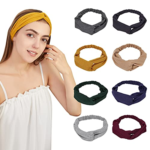 8 Pack Knotted Boho Headbands for Women Girls Cloth Cross Twist Hairband Warm in...