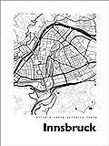 Poster 30 x 40 cm: Stadtplan von Innsbruck von 44spaces -