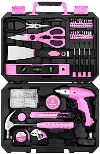 DEKO Pink 98 Piece Tool Set General Household Hand Tool Kit with Plastic Toolbox Storage Case product image