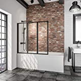 Schulte 127 x 140 cm Mampara ducha para bañera a encolar, 3 hojas plegables, perfil negro y cristal transparente, D1300-F-EKS 68 50