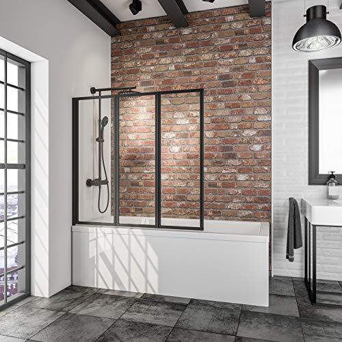 Schulte 127 x 121 cm Mampara ducha para bañera, 3 hojas plegables, perfil negro y cristal transparente, D1330 68 50