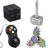 Cool Hammer Fidget Spinner Metal, Fidget Pad Controller, Infintiy Cube, Phoenix Dragon Hand Finger Spinner,Sensory Desk Toys, Small Fidget Gadget, ADHD Autism Toys Set Gifts For Kids Adults (4 PACK)