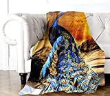 Alottagifts Peacock 50'' x 60' Throw Blankets for Bed Couch and Sofa 100% Polyester Cozy Warm Throw Blanket for Both Adults and Child ( Peacock Sun Blanket )