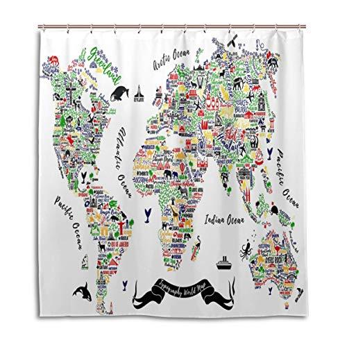 JSTEL Dekorativer Duschvorhang mit Weltkarte und Reiseposter, Städte und Sightseeing, 100 % Polyester, 168 x 183 cm, für Zuhause, Badezimmer, dekorative Duschvorhänge mit Kunststoffhaken
