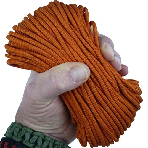 MilSpec Paracord International Orange 110 ft. Hank, Military Survival Braided Parachute 750 Cord. Use with Paracord Tools for Tent Camping, Hiking, Hunting Ropes, Bracelets & Projects. Plus 2 eBooks.