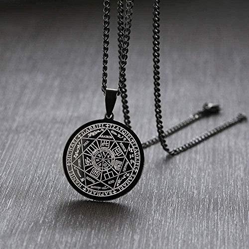 huangshuhua Collar de Mujer Collar para Hombres el Sello de los Siete arcángeles Redondo Acero Inoxidable Collar Hombre Colgante Cadena de joyería