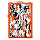 Zippo Custom Lighter Design Reg Neon Orange Camouflage Windproof Collectible - Cool Cigarette Lighter Case Made in USA Limited Edition & Rare