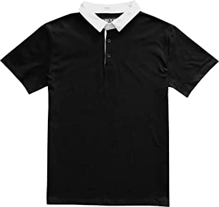 Solid Mens Short Sleeve Sports Polo Rugby Shirt