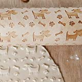 Embossed Rolling Pins Dog Bone Engraved Embossing Wood Rolling Pin for DIY Baking Cookies Noodle