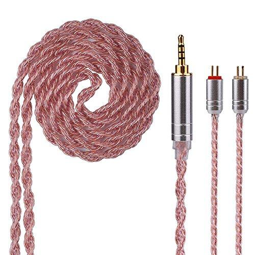 Cable de actualización de auriculares Yinyoo de Actualización de 6 Núcleos Auriculares chapados en cobre Cable de reemplazo con 0.78mm 2 Pines para ZS7 ZST ED16 AS06 ZSA V80 (2Pin 2.5)