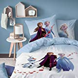 La Reine des Neiges Parure de lit Housse de Couette 140 x 200 + Taie d'oreiller 63 x 63 cm 100% Coton Wind Spirit Blanc Petit Single