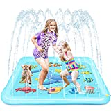 Growsland Splash Pad - 67' Sprinkler for Kids Outdoor Toys Fun Summer Water Pool Sprinkler Play Mat Outside Backyard Water Toy for Baby Toddlers Girls Boys
