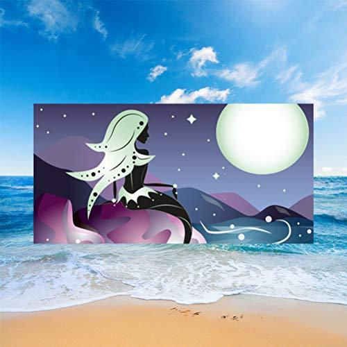 Sticker Superb Toalla de Playa 3D Animal Lobo Unicornio Sirena Rectangular Arena Control Microfibra Fina Manta Natación SPA Viajes Tumbona Cubierta Niño Adulto Mascota (Patrón 5,150 x 180 cm)