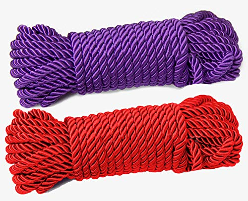Multi-Purpose Twine Silk Polyester Nylon Twisted Braided Rope for Crafts, Cargo, Tie-Downs, Marine, Camping, Swings (10 Meter Each) (Red Purple)