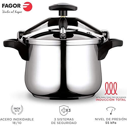 Fagor Clasica Olla a presión rápida, Acero Inoxidable 18/10, Apta para Todo Tipo de cocinas, INDUCCION Total. Fondo termodifusor IMPAKSTEEL máxima Resistencia, 3 Sistemas de Seguridad (8L)