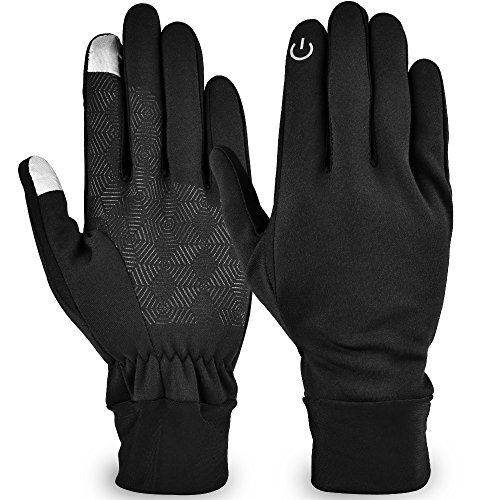 Lonew Touch Screen Gloves - Waterproof & Windproof Winter Warm Thermal Gloves for Outdoors, Cycling, Running, Texting Fits Men and Women (L)