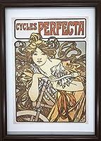 アルフォンス・ミュシャ ペルフェクタ自転車 自転車の少女 A4 ポスター 輸送用 額付き ホビー おもちゃ 名画 絵画 グッズ