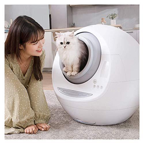 YANGYUAN Caja de Arena de Gato automática de autolimpieza Totalmente Cerrado con Limpiador eléctrico, Inodoro con Desodorante para Gato de Peso y Limpieza