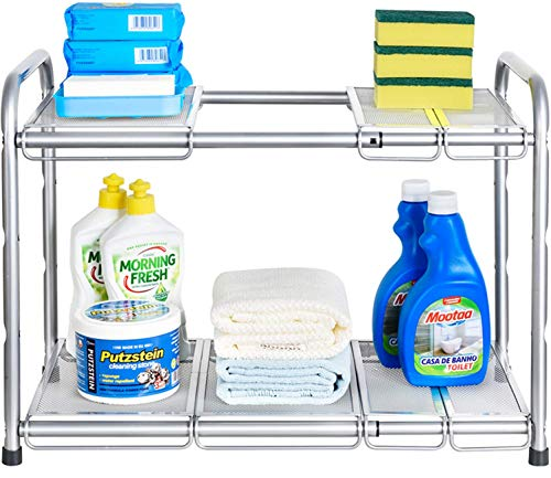 Auledio Under Sink Shelf Organizer, 2-Tier Storage Rack with Flexible & Expandable 15 to 25 inches for Kitchen Bathroom Cabinet