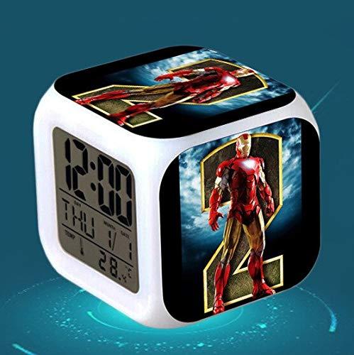 Zhuhuimin slaapkamerklok LED 7 kleuren flits digitale wekker Multifunctionele touch-gevoelige wekker kinderkamer wekkerklok gratis geval kind verjaardagscadeau horloge