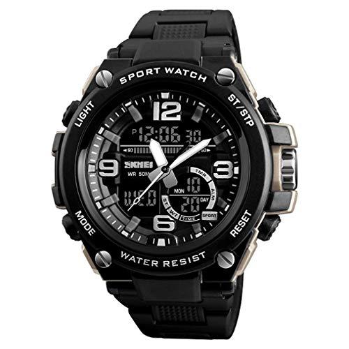 XJIANQI Mens Sport Digitale Horloge, 50m Waterdicht met 3 klok, 12/24 Uur Format, Week display, Alarm, Countdown, Armband, size, Abrikoos