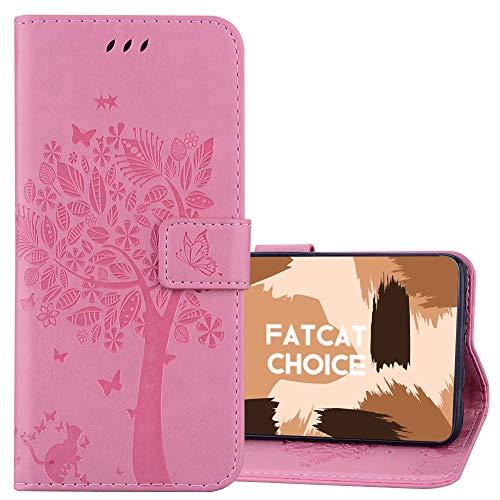 FatcatChoice Kompatible mit LG K5,Prägung Muster Schutzhülle PU Leder Brieftasche-Stil Handytasche PU Leder Flip Cover Wallet Hülle Schutzhülle Etui Hülle (Rosa)