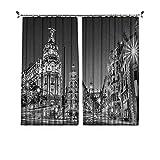 90% cortinas opacas en blanco y negro, ciudad de Madrid en la noche en España Main Street Arquitectura antigua, cortinas plisadas para ventana de la sala de estar, 200 x 230 cm, negro, blanco y gris