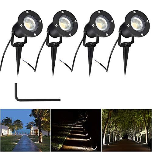 CPROSP 4PCS 5W Faretto da Giardino GU10 Proiettore LED Spot con Picchetto Esterno IP65 Bianco Naturale per Esterno Giardino 4000K