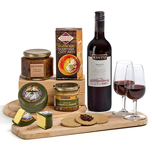 Hay Hampers Ploughman's Lunch: Cheese, Pate and Red Wine Hamper Gift for Him or Her FREE UK Delivery