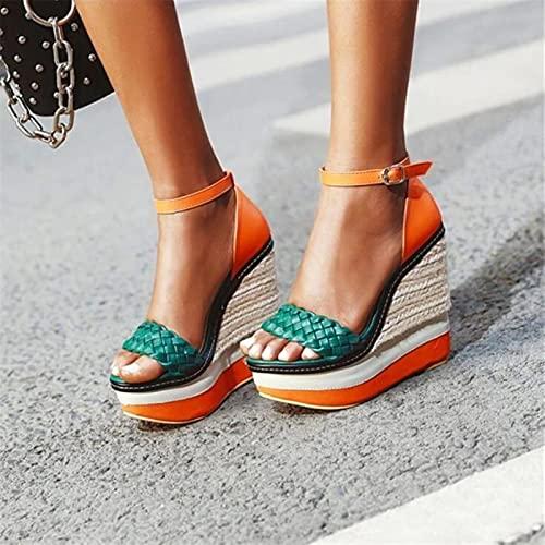 DZQQ Sandali con Zeppa in Pelle Intrecciata Estate sfilata di Moda personalità Colore Abbinamento Sandali con Tacco Altissimo da Donna