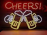 Señal de luz de neón de cristal real con texto en inglés 'Cheers Beer Bar Pub Recreation Room Game Room Windows Garage' (43,2 x 35,5 cm)