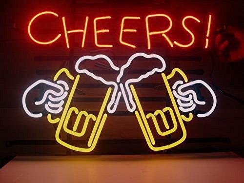 Enseigne lumineuse à néon « Cheers Beer » - Pour décoration intérieure de bar, pub, salle de jeux, garage ou magasin - 43,2 x 35,6 cm