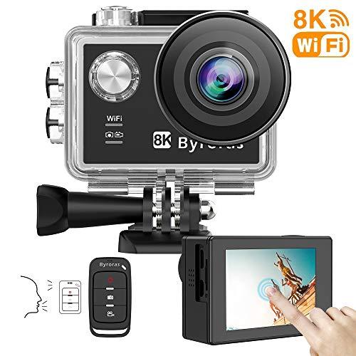 Byroras Action Cam mit Zubehör Kits Actioncam 4K/60fps 8K/15fps 20MP Sportkamera mit Touchscreen-EIS-Fernbedienung, 40m Unterwasserkamera 2.0 Zoll LCD Bildschirm 170 ° Weitwinkel Helmkamera