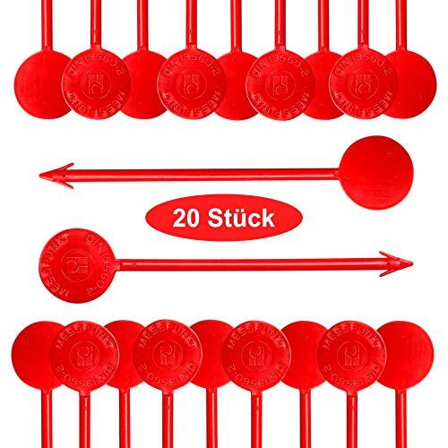 Estrichmesspunkte, 20 Stück, rot, Flexibel, Estrich-Messpunkt mit Widerhaken Messpunkte, Estrichmesspunkt zur Einrichtung einer Messstelle, von intervisio