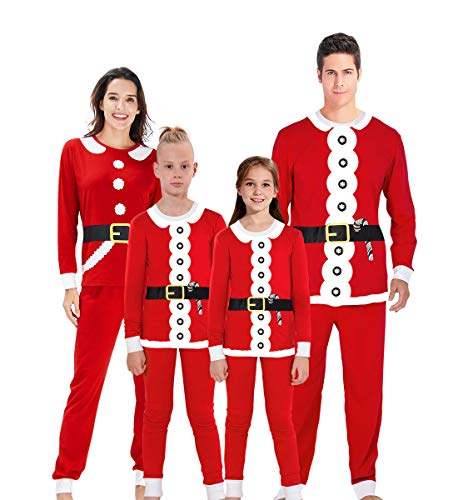 TUPOMAS Christmas Family Matching Pajamas Set Santa Claus Sleepwear for Family Boys Girls Xmas Light 2 Piece Pjs Toddlers Warm Soft Sleepwear Men Women Rib-Knit Cuffs Sets for Kids Size 6-7 Years Old