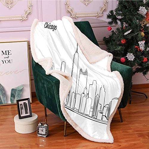 SeptSonne Chicago Skyline Fleece Blanket,Hand Drawn City Silhouette Downtown Free Hand Sketch of Panoramic Landmark Flannel Bed Blankets,for Bed, Couch, Sofa, Chair Blanket(40in x 50in,Black White)