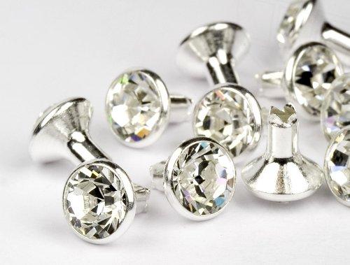 Chaton-Nieten von Swarovski Elements  SS39  (Crystal, Silber) - 4mm Schaft, 10 Stück