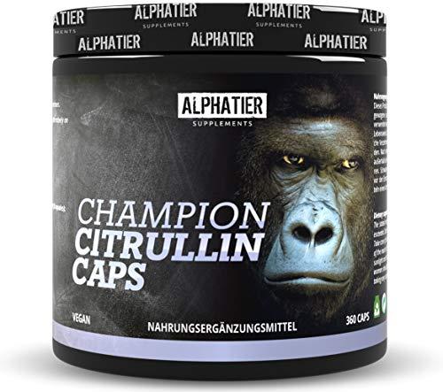 L-CITRULLIN Malat Kapseln - 360 Caps hochdosiert + vegan - ALPHATIER CHAMPION L-Citrulline Malate DL 2:1 - Fitness und Bodybuilding - Premiumqualität ohne Magnesiumstearat