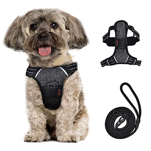 SUPPETS No Pull Dog Harness with Leash Reflective Padded Pet Vest Adjustable Soft Puppy Harness with Easy Control Handle for Small Dogs and Cats, Black