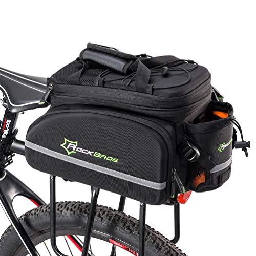 ROCKBROS Bolsa Asiento Trasero de Bicicleta para Portaequipajes Alforja Extensible 10-35L para MTB Ebike Capacidad Grande Multifuncional para Viaje, Negro