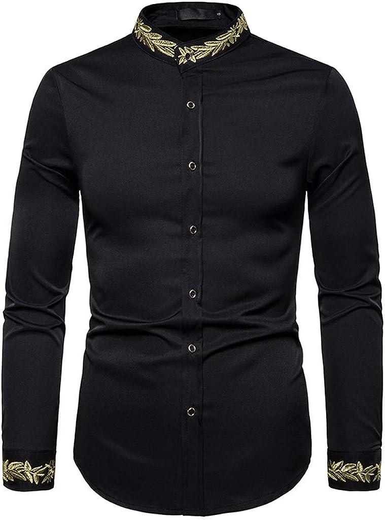 MODOQO Men's Shirt Slim Fit Solid Stand Collar Business Dress Shirt
