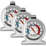 Termómetro para refrigerador y congelador, con dial grande, termómetro para nevera, Fahrenheit y Celsius, monitor de temperatura con indicador (3 unidades)