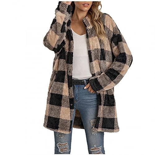 NHNKB Chaqueta de forro polar para mujer, larga, de invierno, a cuadros, chaqueta cálida de invierno, 100% poliéster